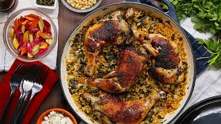One-Pan Chicken, Chard, And Couscous Dinner • Tasty