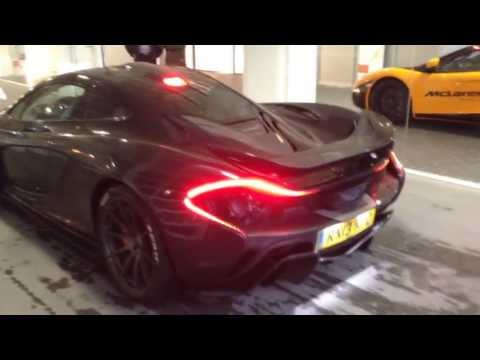 Purple/Carbon McLaren P1 in Frankfurt - Inside, start up, driving, details and more !