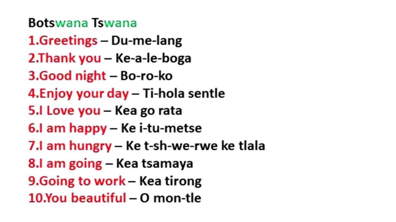 JAMAICA GOOD LIFE - TSwana lesson