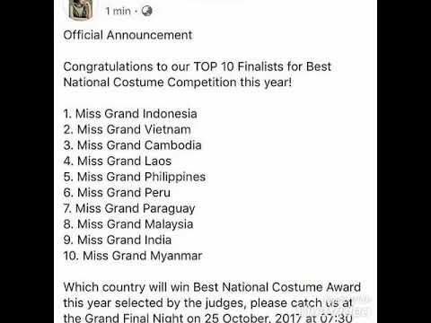 IP News Update : INDONESIA posisi pertama Top 10 Best National Costume Miss Grand International 2017