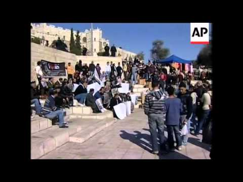 Children in WBank, protesters in Jerusalem, stage anti- Israeli demos