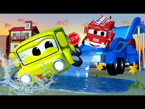 The Water Slide Truck - Carl the Super Truck in Car City | Children Cars 3 D videos for kids