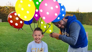 Öykü and Dad play with Funny Balloons