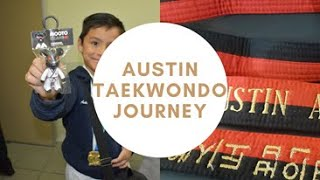 PART2 Taekwondo belt coĮor blue, red, and black journey of Austin