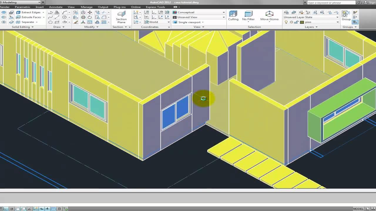 Tutorial Autocad 3D 2012 espaol modelar una casa parte 4  YouTube