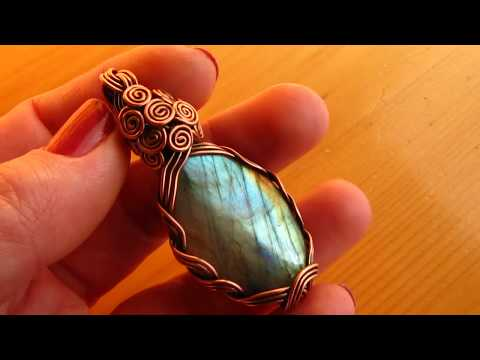 Copper Wire Wrapped Labradorite Pendant by DeeArtist, 2019