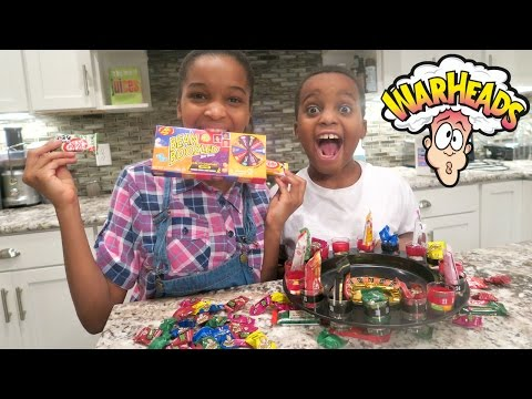 GROSS! Roulette Candy Challenge w/ Extreme Sour Warheads Candy - Shasha and Shiloh - Onyx Kids