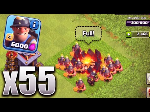 Clash Of Clans - 55 MINERS MAX LEVEL! New Update Troop Attack (CoC Update 55 Miners Battle!)