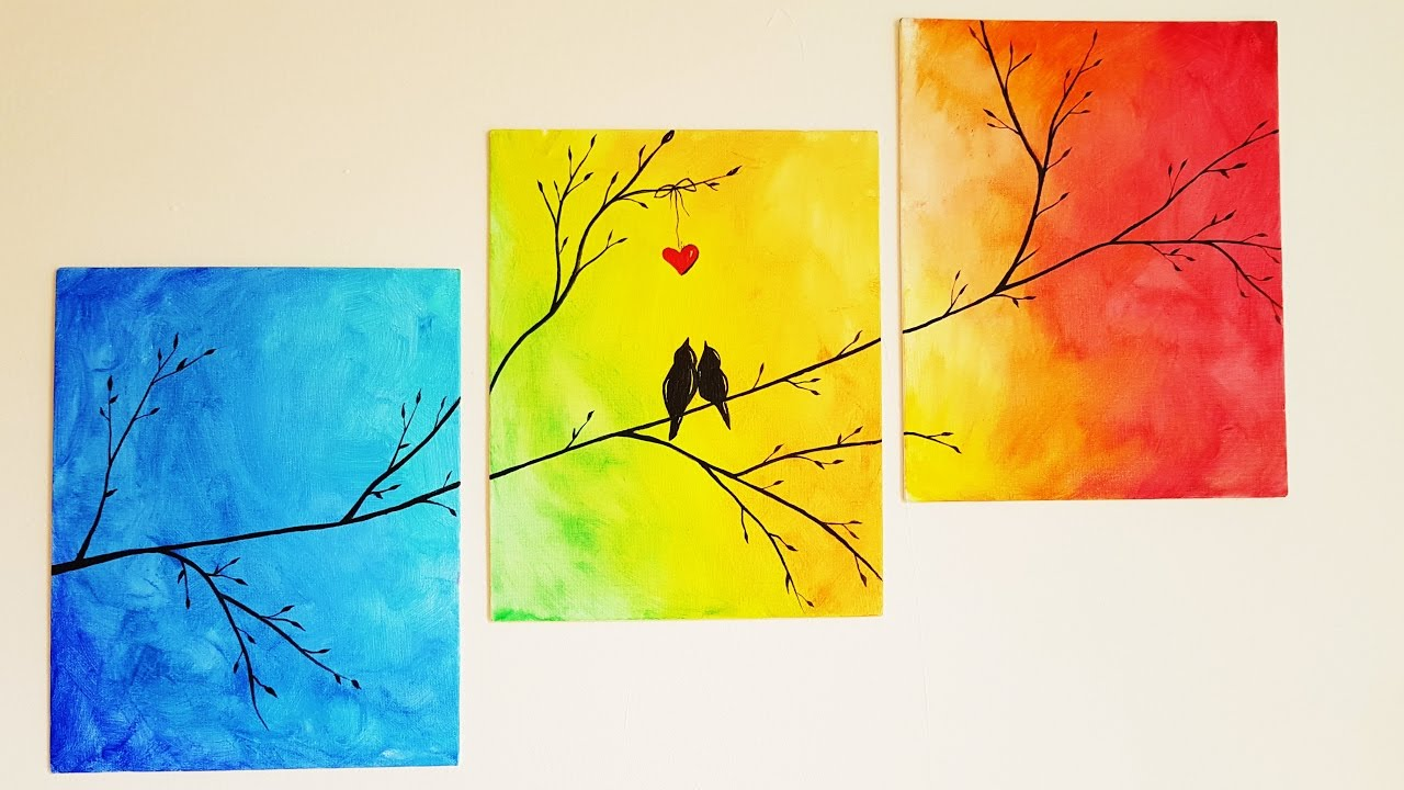 diy colorful tree canvas painting room decor youtube