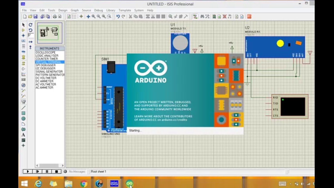 Arduino Wireless module (rf module) simulation in proteus