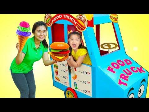 Hana Pretend Play w/ GIANT Food Truck Toy...