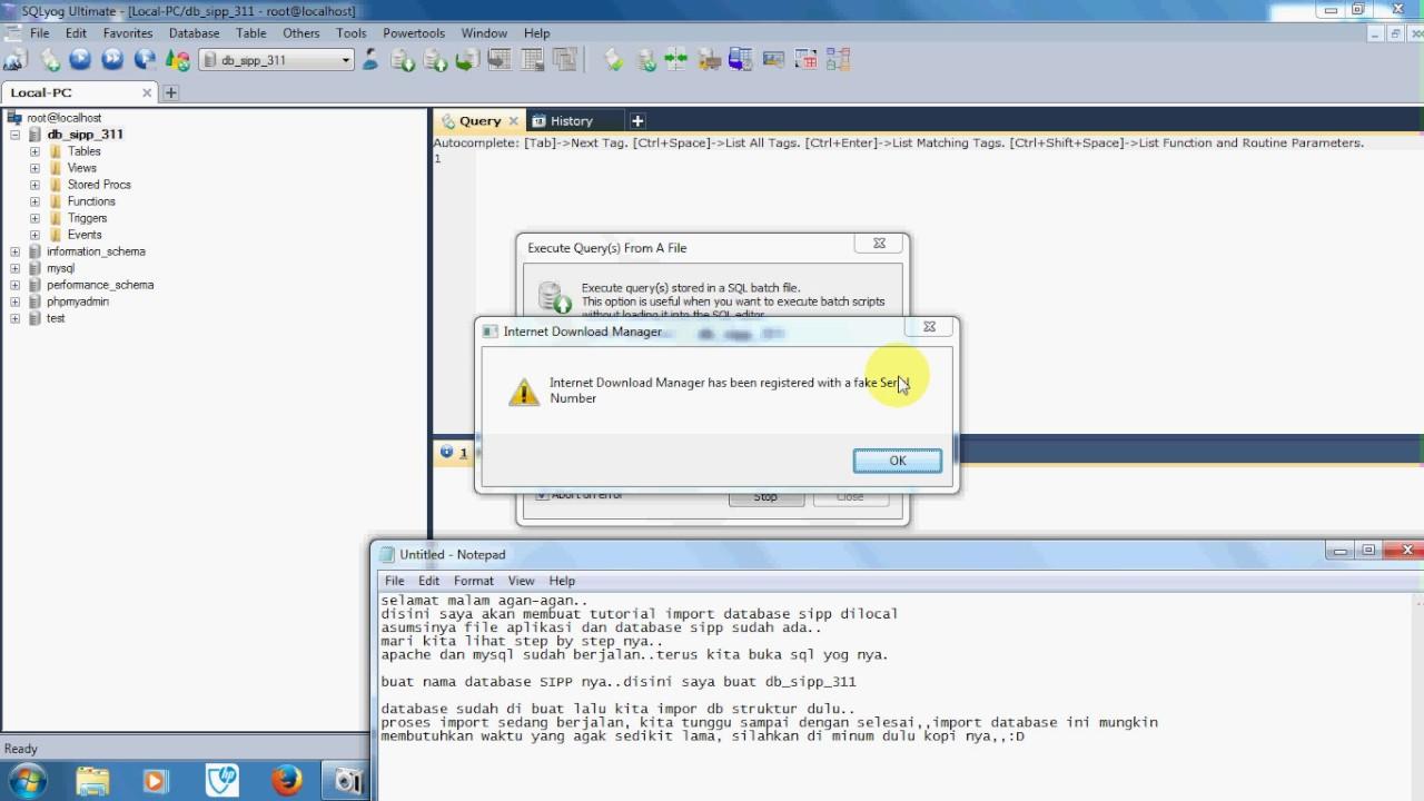 SIPP - Import Database SIPP Local - Struktur & Data by Aloenx Terintegrasi
