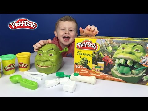 Play Doh shrek 2 Teeth Rotten Root Canal Playset Dentist Dr Drill N Fill Toys Review