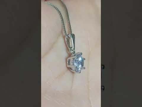 項鍊2克拉高碳鑽仿真鑽石項鏈女鑽石吊墜媲美真鑽鉑金質感不扯衣物頭髮好好戴精工6爪鑲單碳原子 純銀鍍鉑金莫桑鑽寶