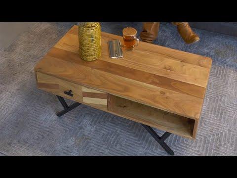 Industriële salontafel visgraat Hunter acaciahout