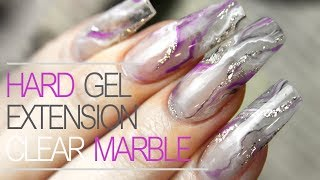 Clear Hard Gel Nails | How to Smoky Marble Nail Design