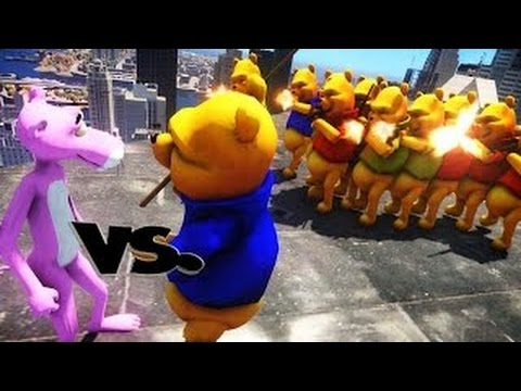 Pink Panther Vs Winnie The Pooh ARMY EPIC BATTLE