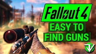 FALLOUT 4: Early Game EASY TO FIND Weapons! (Sniper, .44 Magnum, Shotgun, Laser Gun, and Fat Man)