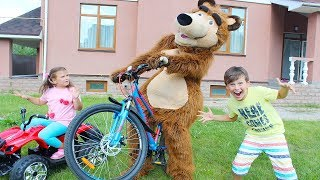 KOCA AYI BiZE GELDİ,BİSİKLET VE ATV SÜRDÜ My friend Bear Fun Kid video
