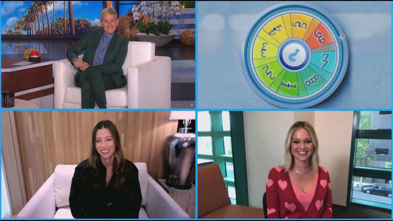 Jessica Biel and Olivia Holt Spin the 'Wheel of Mysteries'