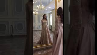 Свадебное платье в цвете капучино.