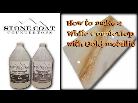 How to make a White  counter top with gold, silver, & bronze color training