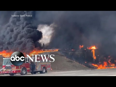 Indianapolis highway crash inferno | WNT