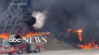 Indianapolis highway crash inferno | WNT