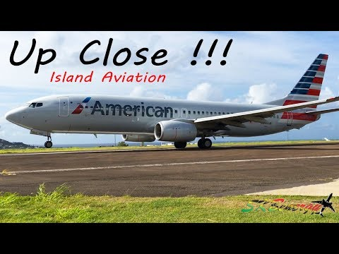 EPIC !!!! Up Close, American Airlines 737-800 blasting out of St. Kitts for Miami