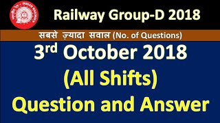 RRB Group-D All Shift (3rd/oct/2018) Answer Key