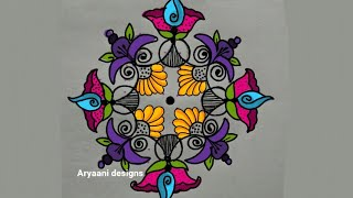 Creative and unique...flowers design..14 to 2 dots..muggulu..