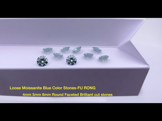 Loose Moissanite Blue Color Round brilliant diamond faceted cut gemstones wholesale from china