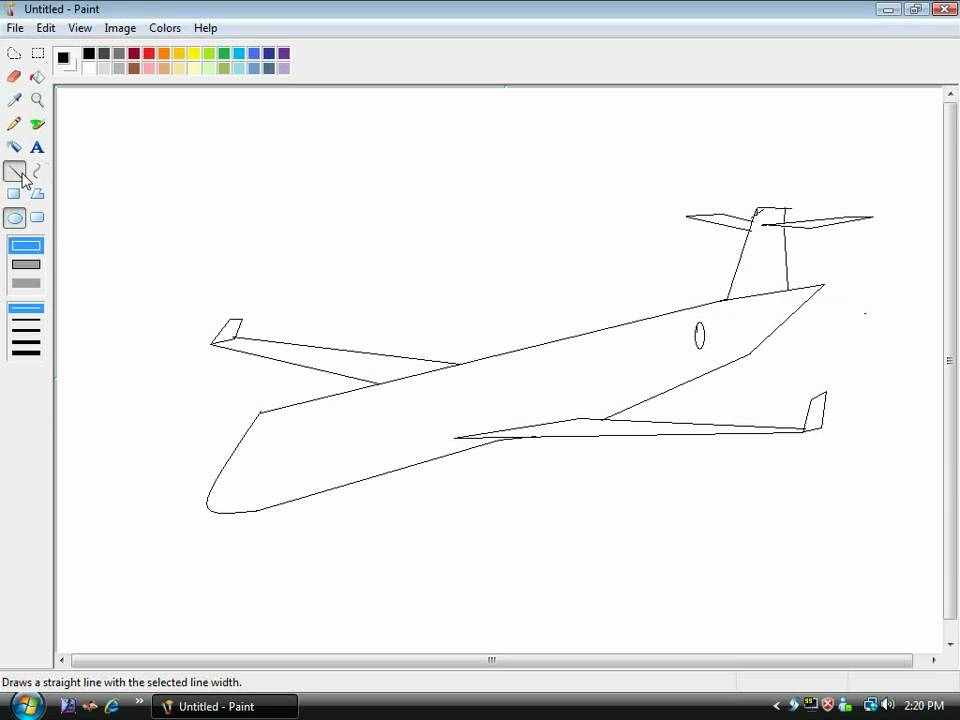 how to draw a plane in microsoft paint - YouTube