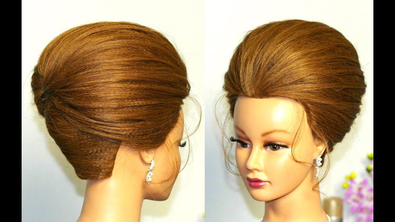 elegant hairstyle for long medium hair. updo tutorial. - youtube