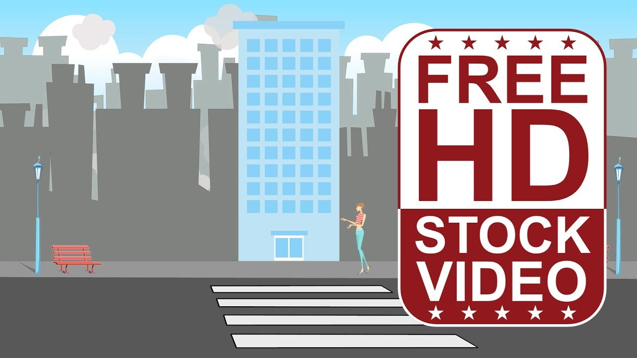 Free Stock Videos Cartoon Style Scene City Town With