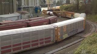 Train derails near Steel Bridge