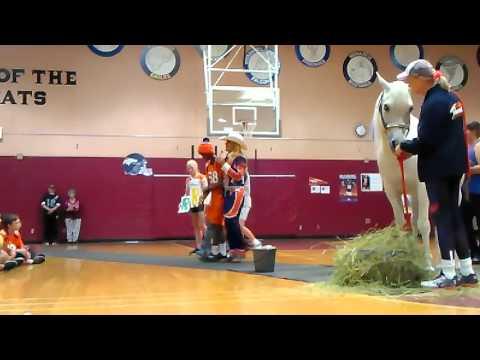 Denver bronco horse at school