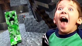 Minecraft With Jacob - Little Boy Exploring The Caves!