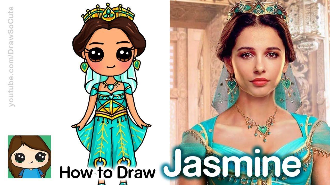 How To Draw Princess Jasmine Disney Aladdin New Youtube