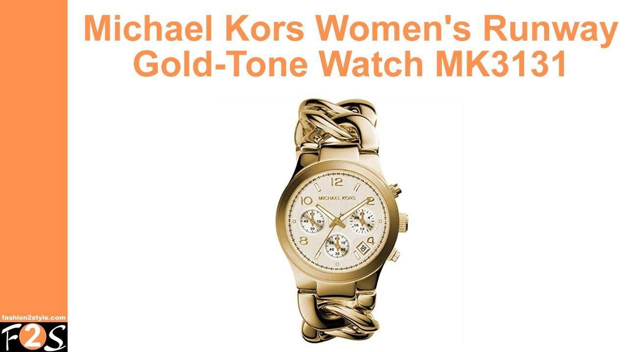 9b2568165991 Michael Kors Women s Runway Gold Tone Watch MK3131 - YouTube