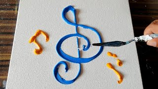 Musical / Abstract Painting Demo / Easy for Beginners / Acrylics / Daily Art Therapy / Day #0140