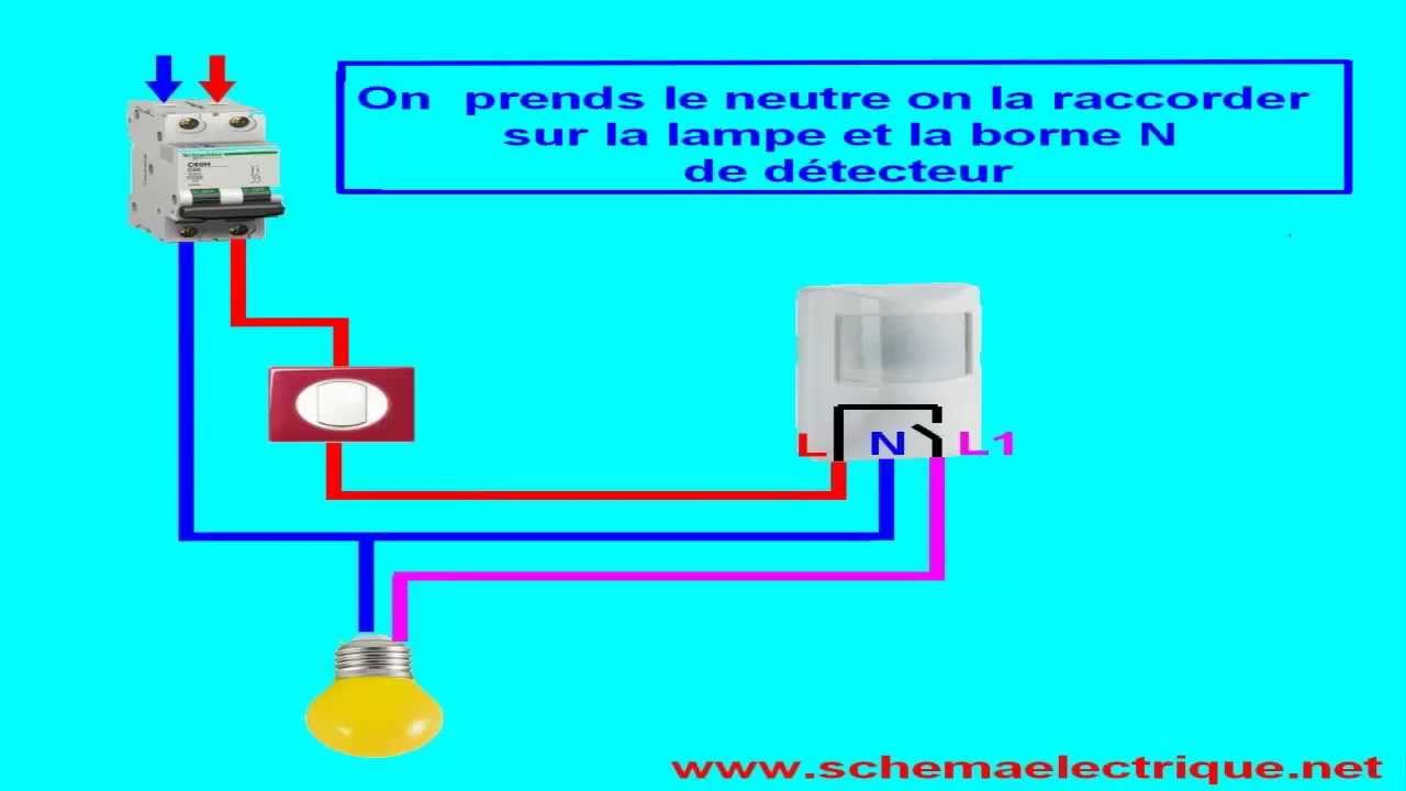 schema branchement cablage detecteur de mouvement avec interrupteur
