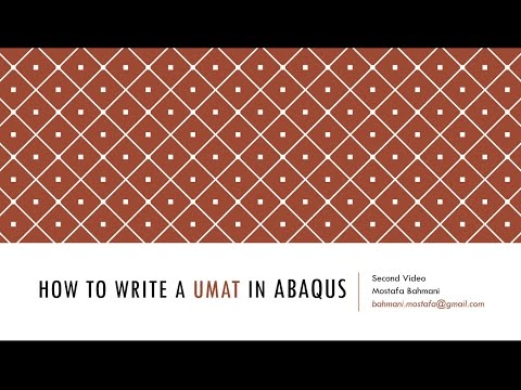 Writing A Simple UMAT In ABAQUS -Second Video