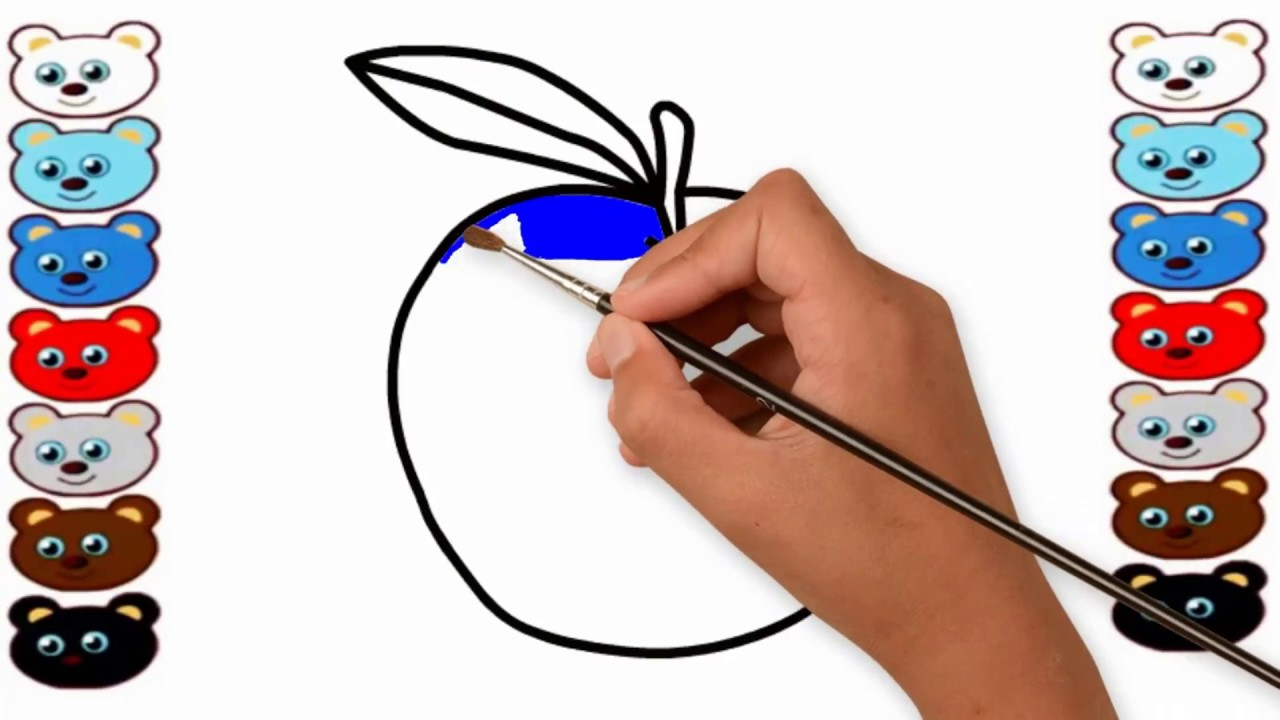 How To Draw Apple Apple Coloring Pages Apple Painting Learn Coloring Learn Coloring For Baby Youtube