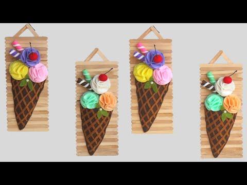 popsicle stick crafts ideas / hiasan dinding dari stik es krim dan kain flanel / kreasi kain flanel