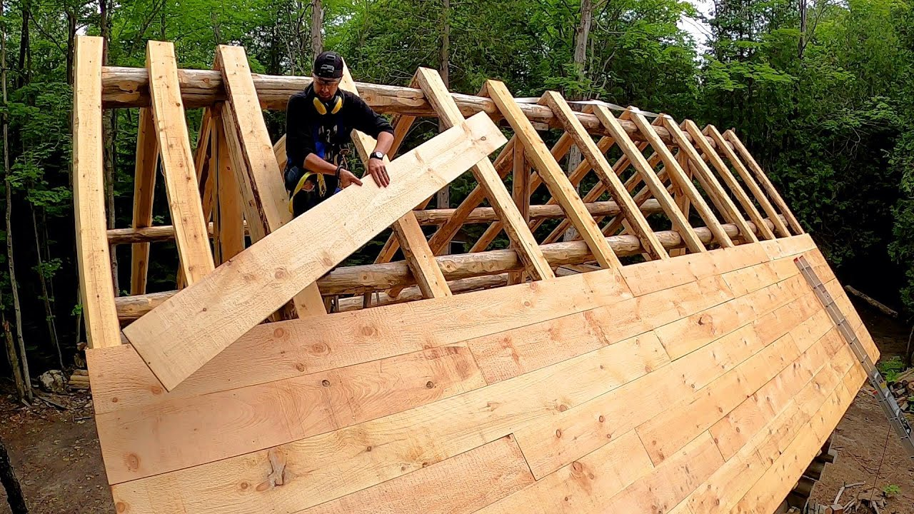 Roofing a Steep 12/12 Pitch! Barn Board Sheathing / Log Cabin Update- Ep 13.10