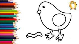 Раскраска для детей ПТИЦА. Мультик - Раскраска. Учим цвета.