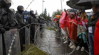 """Белорусский """"Марш единства"""": протесты и задержания"""