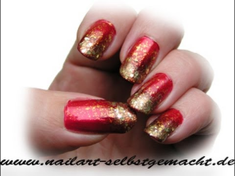 Sponge Nail Art Tutorial Red Gold Easy Step By Ombre Deutsch Diy You