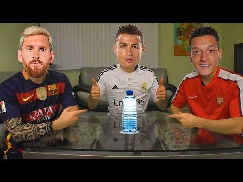 FOOTBALLERS DO WATER BOTTLE FLIP CHALLENGE Ft. Cristiano Ronaldo, Lionel Messi, Mesut Özil & More!